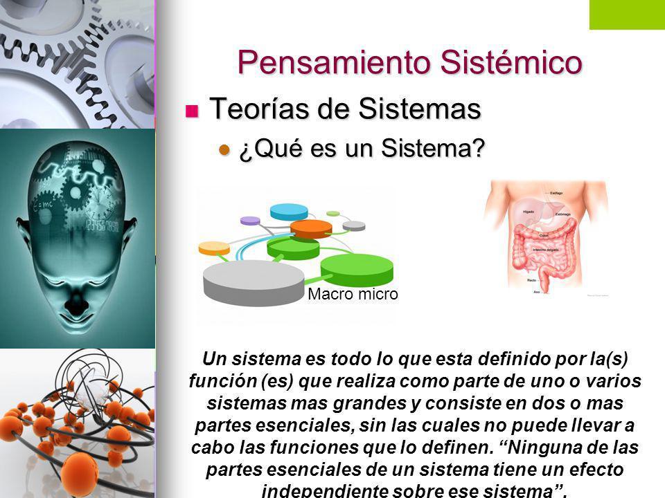 Pensamiento Sistémico Teorías de Sistemas Teorías de Sistemas ¿Qué es un Sistema? ¿Qué es un Sistema? Un sistema es todo lo que esta definido por la(s