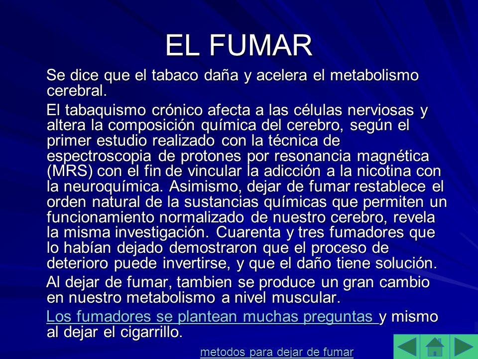 EL FUMAR Se dice que el tabaco daña y acelera el metabolismo cerebral.