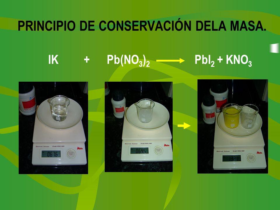 PRINCIPIO DE CONSERVACIÓN DELA MASA. IK + Pb(NO 3 ) 2 PbI 2 + KNO 3