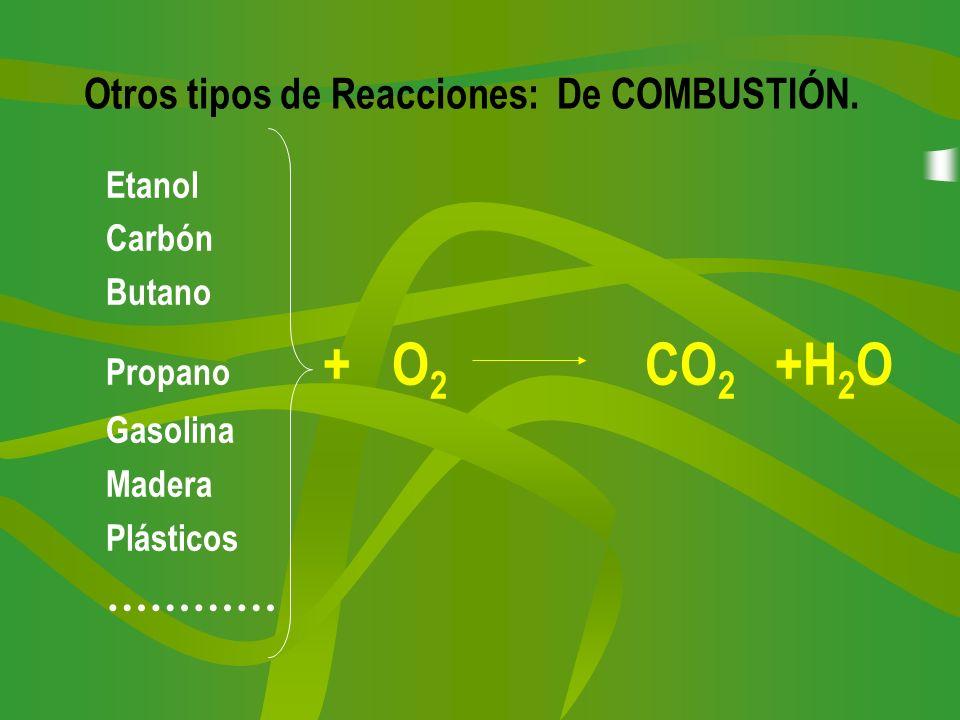 Otros tipos de Reacciones: De COMBUSTIÓN. Etanol Carbón Butano Propano + O 2 CO 2 +H 2 O Gasolina Madera Plásticos …………