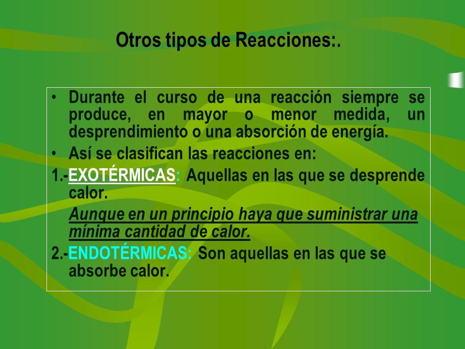 Durante el curso de una reacción siempre se produce, en mayor o menor medida, un desprendimiento o una absorción de energía. Así se clasifican las rea