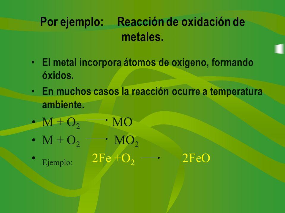 Por ejemplo: Reacción de oxidación de metales. El metal incorpora átomos de oxigeno, formando óxidos. En muchos casos la reacción ocurre a temperatura