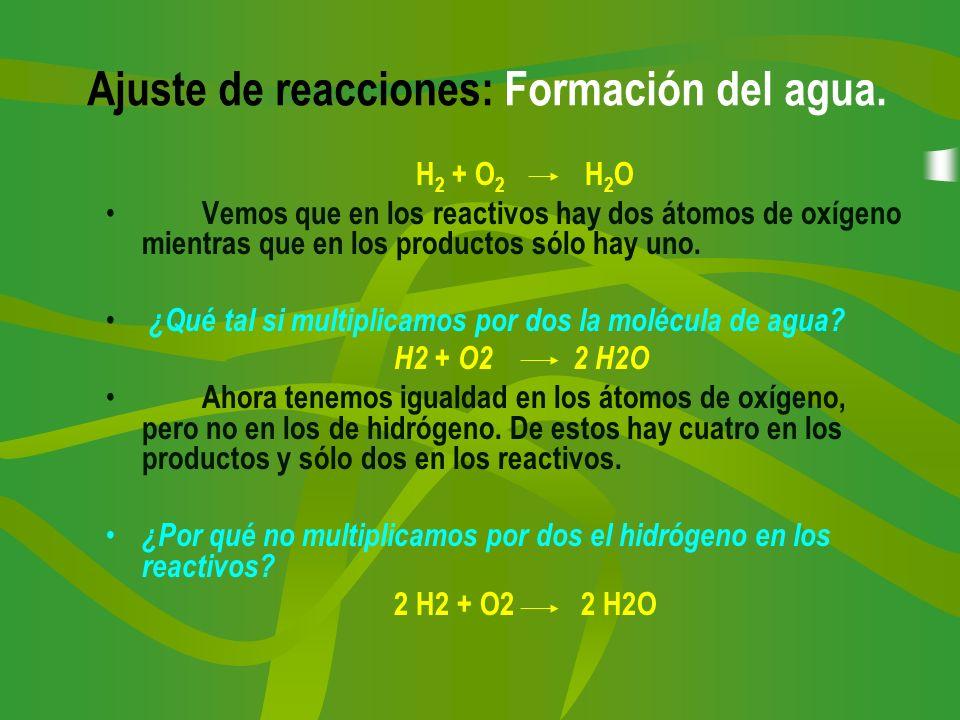 Ajuste de reacciones: Formación del agua. H 2 + O 2 H 2 O Vemos que en los reactivos hay dos átomos de oxígeno mientras que en los productos sólo hay