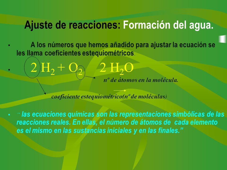 A los números que hemos añadido para ajustar la ecuación se les llama coeficientes estequiométricos. 2 H 2 + O 2 2 H 2 O nº de átomos en la molécula.