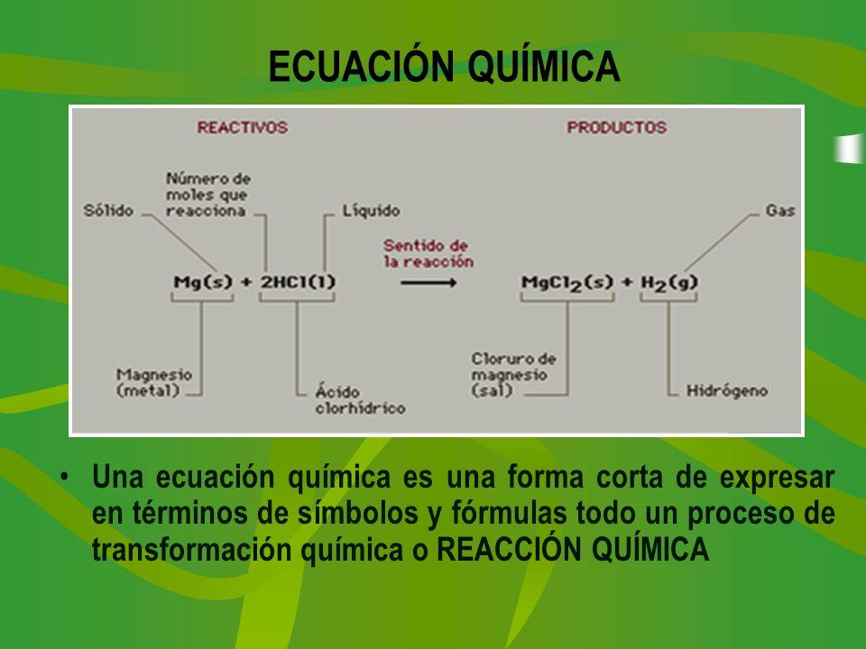ECUACIÓN QUÍMICA Una ecuación química es una forma corta de expresar en términos de símbolos y fórmulas todo un proceso de transformación química o RE