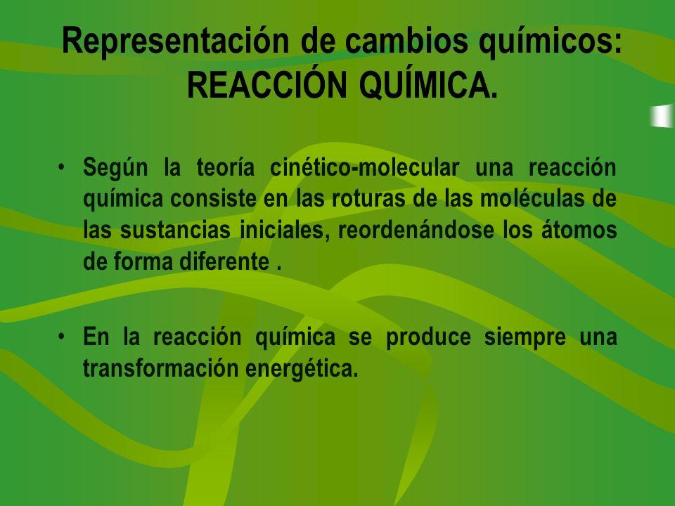 Representación de cambios químicos: REACCIÓN QUÍMICA. Según la teoría cinético-molecular una reacción química consiste en las roturas de las moléculas