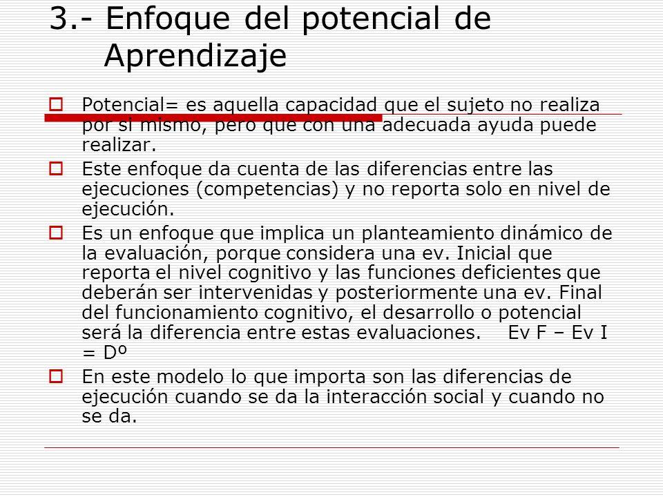 3.- Enfoque del potencial de Aprendizaje Potencial= es aquella capacidad que el sujeto no realiza por si mismo, pero que con una adecuada ayuda puede