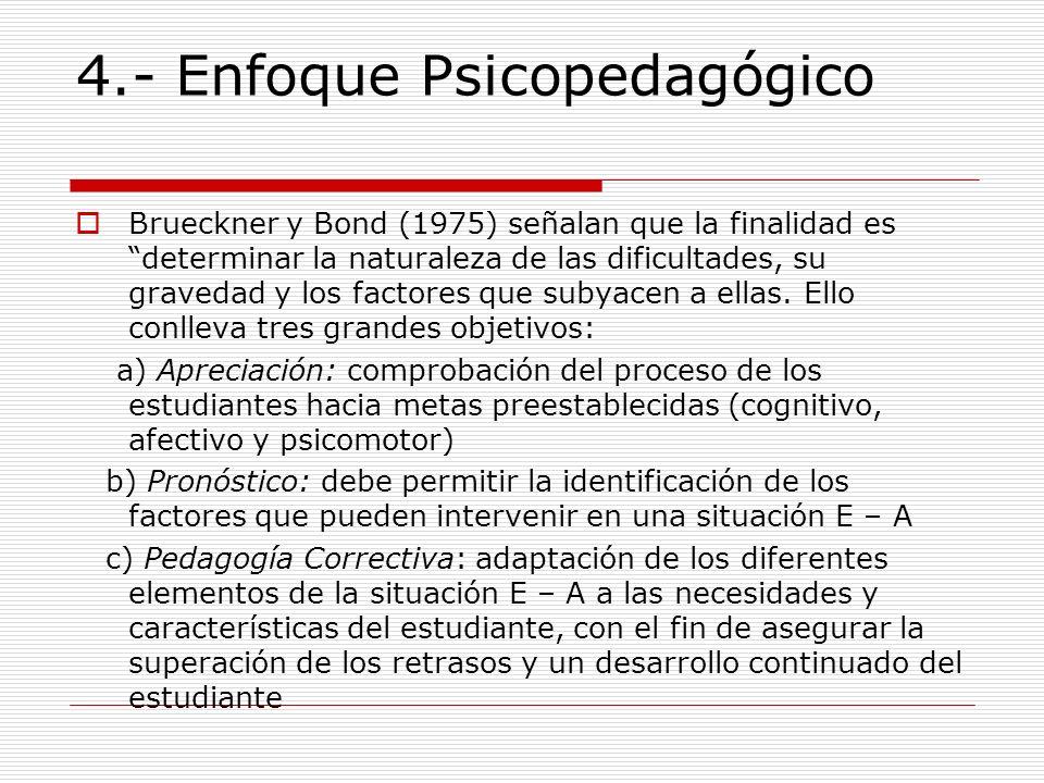 4.- Enfoque Psicopedagógico Brueckner y Bond (1975) señalan que la finalidad es determinar la naturaleza de las dificultades, su gravedad y los factor