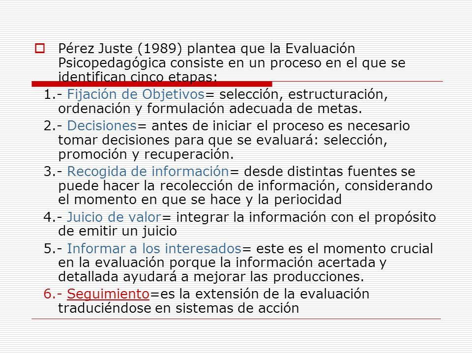 Pérez Juste (1989) plantea que la Evaluación Psicopedagógica consiste en un proceso en el que se identifican cinco etapas: 1.- Fijación de Objetivos=