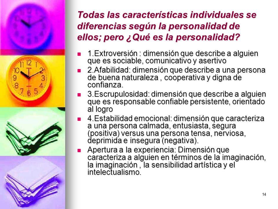 14 Todas las características individuales se diferencias según la personalidad de ellos; pero ¿Qué es la personalidad? 1.Extroversión : dimensión que