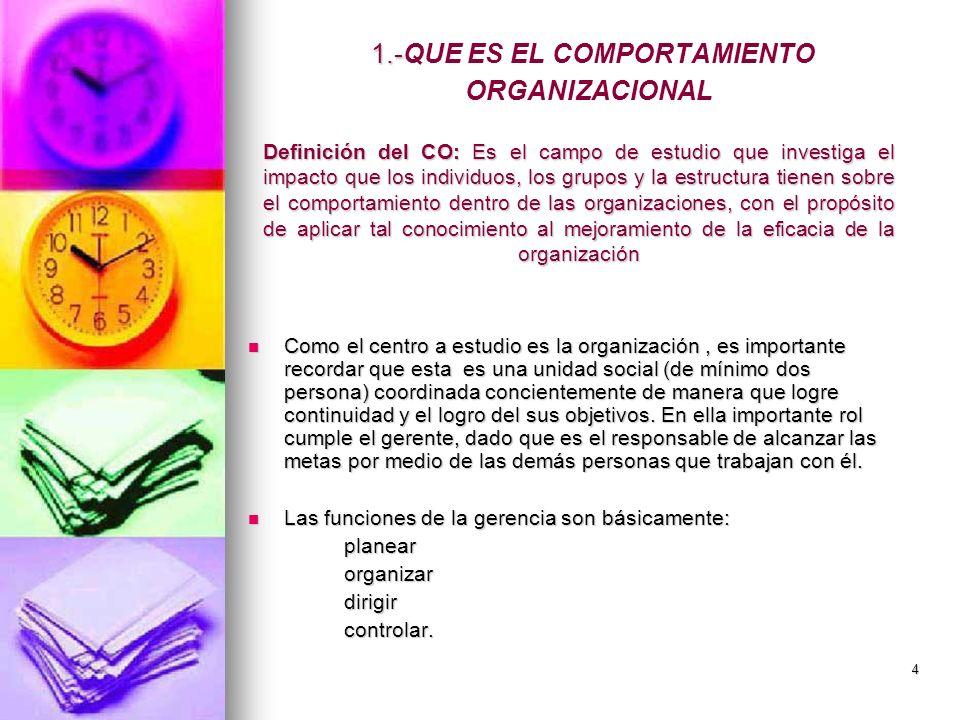 4 1.- 1.-QUE ES EL COMPORTAMIENTO ORGANIZACIONAL Como el centro a estudio es la organización, es importante recordar que esta es una unidad social (de