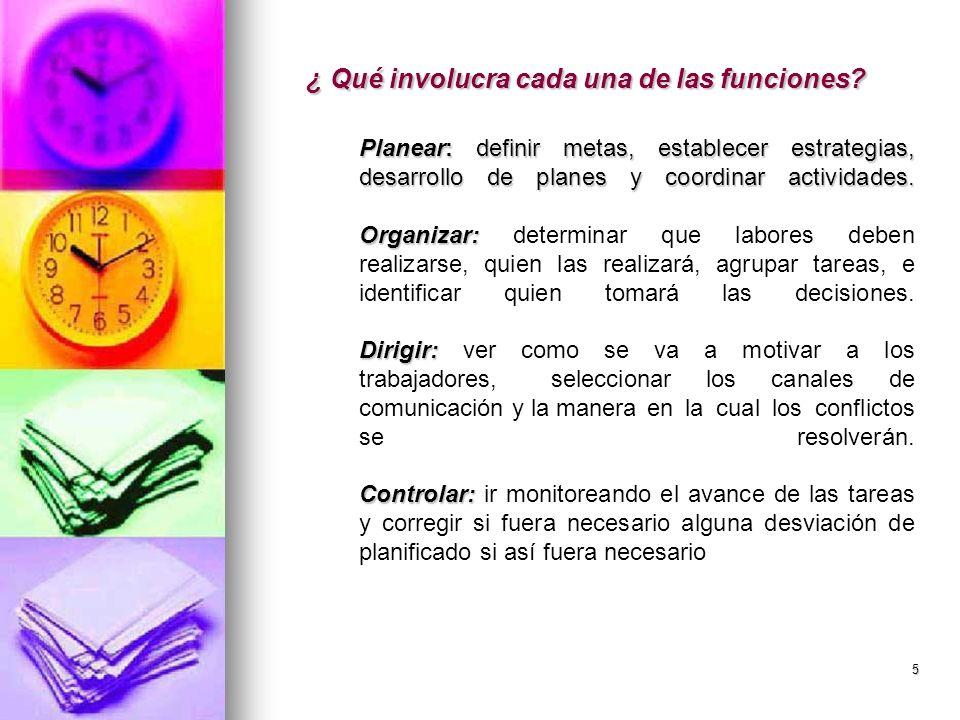 5 ¿ Qué involucra cada una de las funciones? Planear: definir metas, establecer estrategias, desarrollo de planes y coordinar actividades. Organizar: