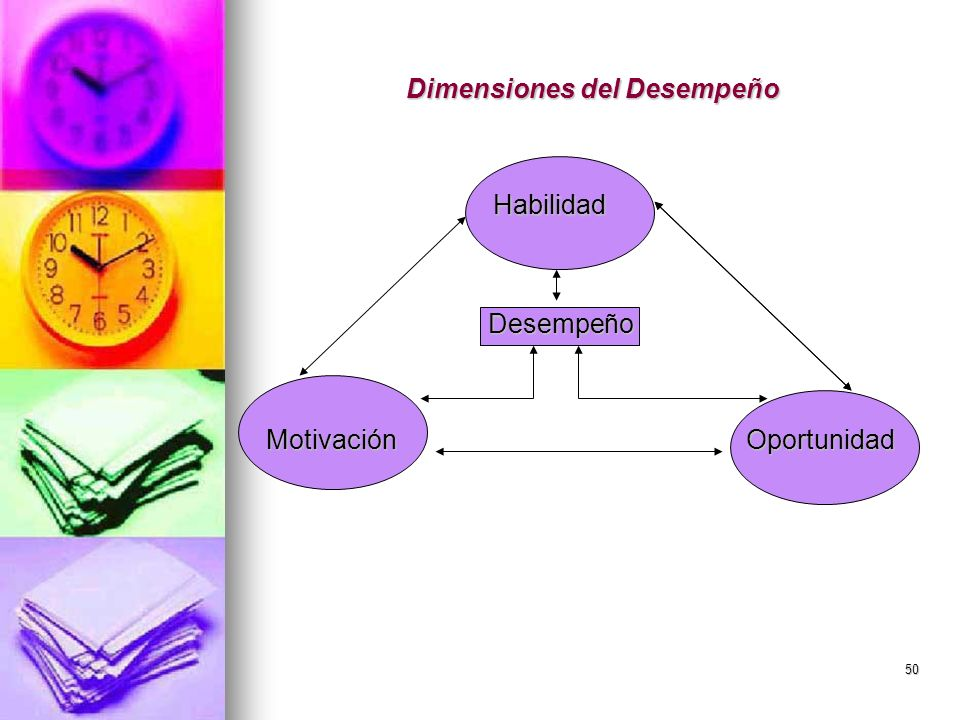 50 Dimensiones del Desempeño Habilidad Habilidad Desempeño Desempeño MotivaciónOportunidad