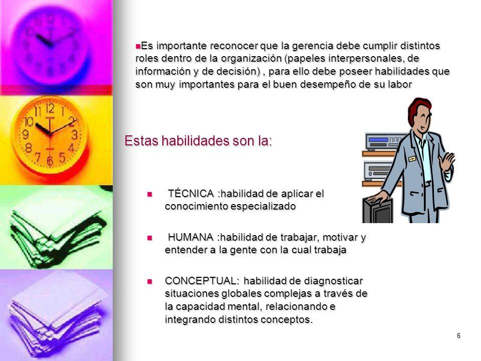 6 Estas habilidades son la: TÉCNICA :habilidad de aplicar el conocimiento especializado TÉCNICA :habilidad de aplicar el conocimiento especializado HU