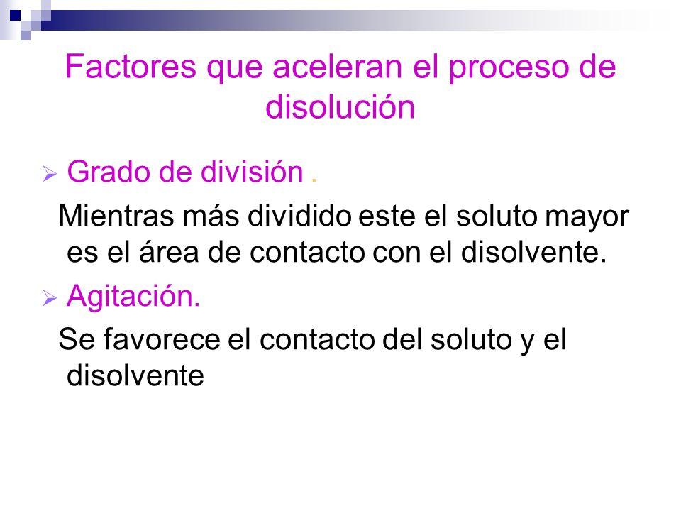 Factores que aceleran el proceso de disolución Grado de división. Mientras más dividido este el soluto mayor es el área de contacto con el disolvente.