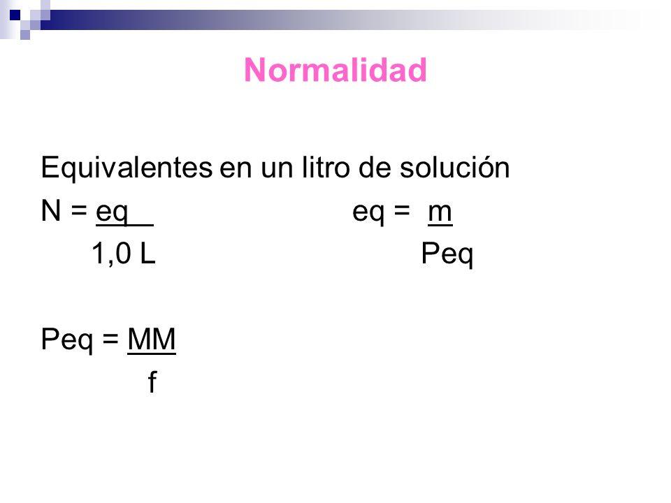 Normalidad Equivalentes en un litro de solución N = eq eq = m 1,0 L Peq Peq = MM f