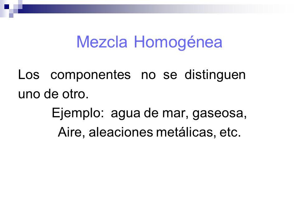 Mezcla Homogénea Los componentes no se distinguen uno de otro. Ejemplo: agua de mar, gaseosa, Aire, aleaciones metálicas, etc.