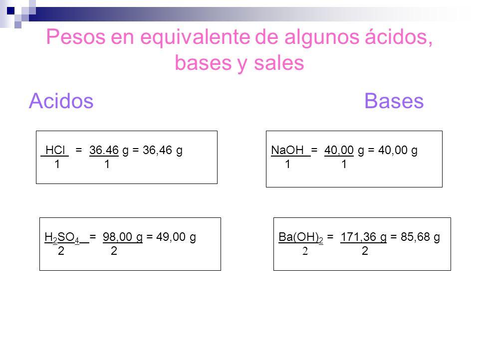 Pesos en equivalente de algunos ácidos, bases y sales AcidosBases HCl = 36.46 g = 36,46 g 1 1 NaOH = 40,00 g = 40,00 g 1 1 H 2 SO 4 = 98,00 g = 49,00
