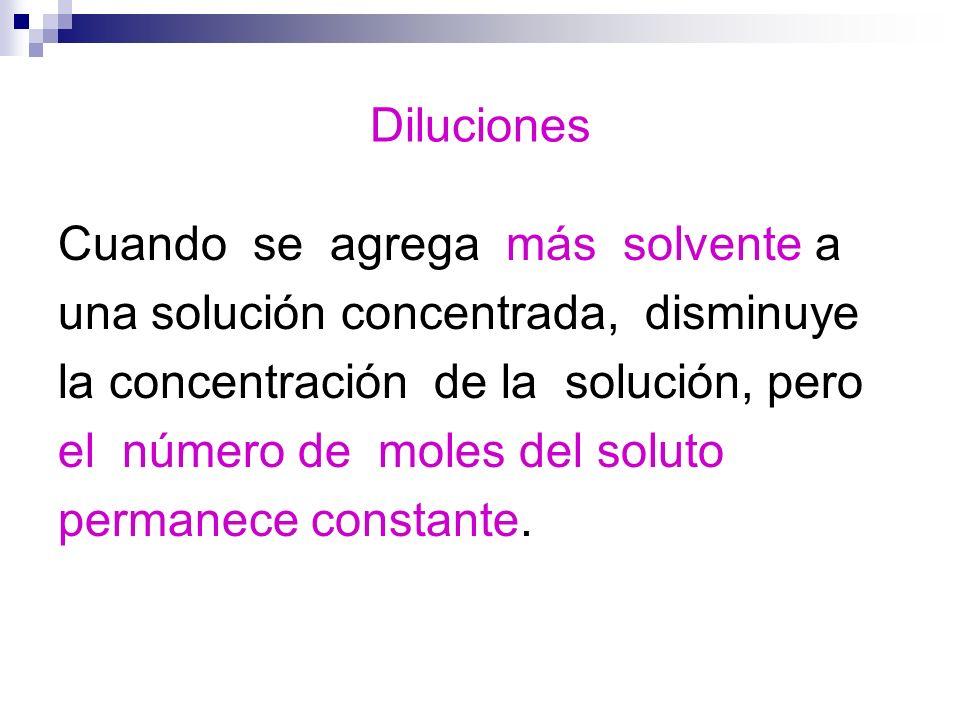 Diluciones Cuando se agrega más solvente a una solución concentrada, disminuye la concentración de la solución, pero el número de moles del soluto per