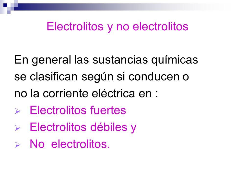 Electrolitos y no electrolitos En general las sustancias químicas se clasifican según si conducen o no la corriente eléctrica en : Electrolitos fuerte