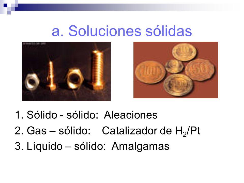 a. Soluciones sólidas 1. Sólido - sólido: Aleaciones 2. Gas – sólido: Catalizador de H 2 /Pt 3. Líquido – sólido: Amalgamas