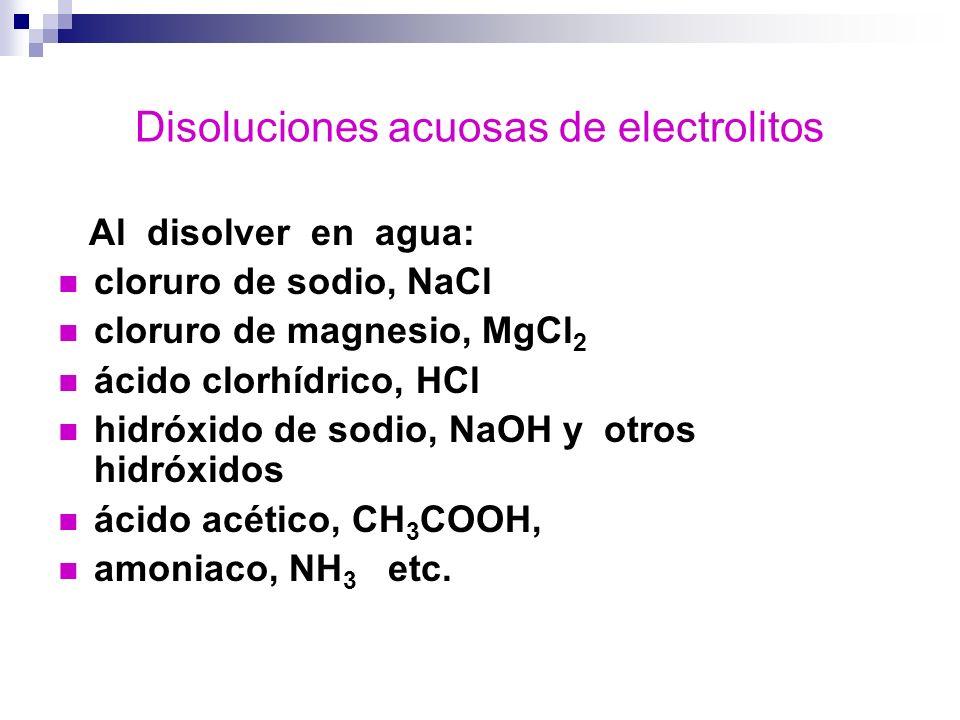 Disoluciones acuosas de electrolitos Al disolver en agua: cloruro de sodio, NaCl cloruro de magnesio, MgCl 2 ácido clorhídrico, HCl hidróxido de sodio