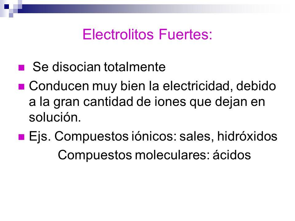 Electrolitos Fuertes: Se disocian totalmente Conducen muy bien la electricidad, debido a la gran cantidad de iones que dejan en solución. Ejs. Compues