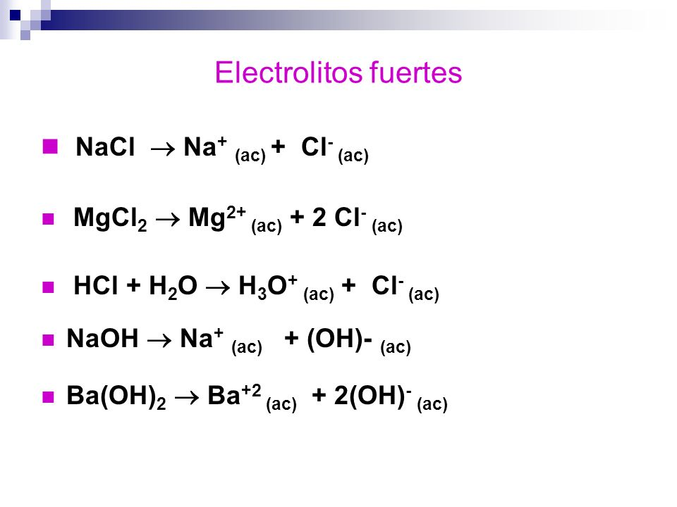 Electrolitos fuertes NaCl Na + (ac) + Cl - (ac) MgCl 2 Mg 2+ (ac) + 2 Cl - (ac) HCl + H 2 O H 3 O + (ac) + Cl - (ac) NaOH Na + (ac) + (OH)- (ac) Ba(OH