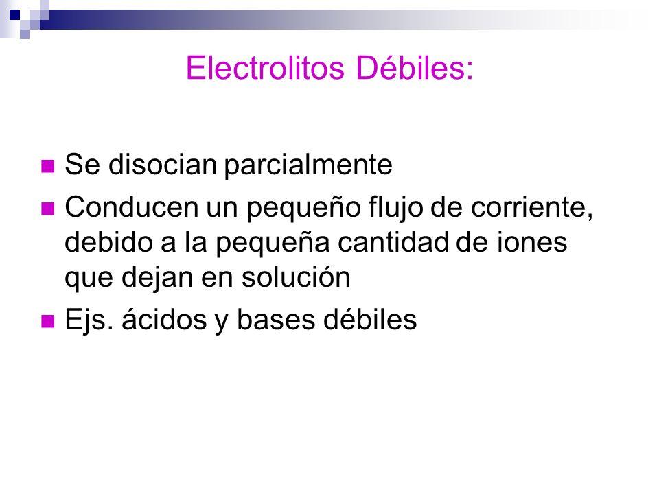 Electrolitos Débiles: Se disocian parcialmente Conducen un pequeño flujo de corriente, debido a la pequeña cantidad de iones que dejan en solución Ejs