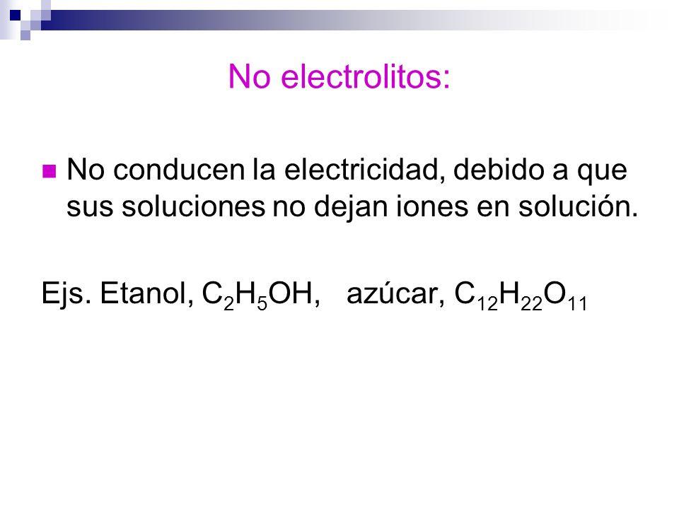 No electrolitos: No conducen la electricidad, debido a que sus soluciones no dejan iones en solución. Ejs. Etanol, C 2 H 5 OH, azúcar, C 12 H 22 O 11