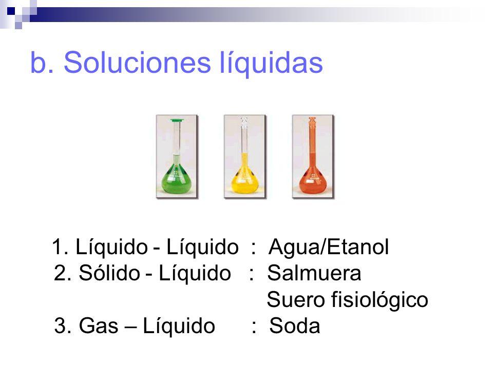 b. Soluciones líquidas 1. Líquido - Líquido : Agua/Etanol 2. Sólido - Líquido : Salmuera Suero fisiológico 3. Gas – Líquido : Soda