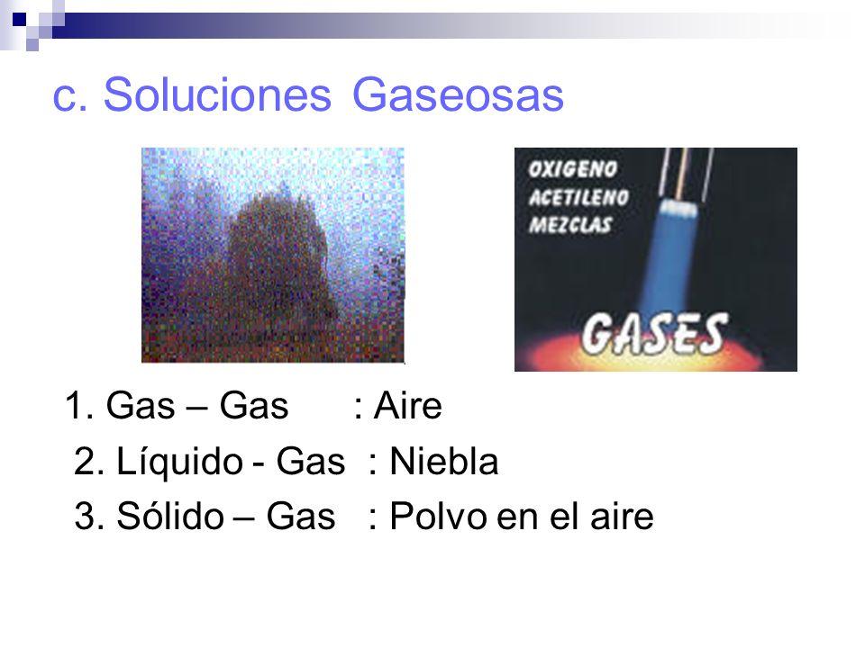 c. Soluciones Gaseosas 1. Gas – Gas : Aire 2. Líquido - Gas : Niebla 3. Sólido – Gas : Polvo en el aire