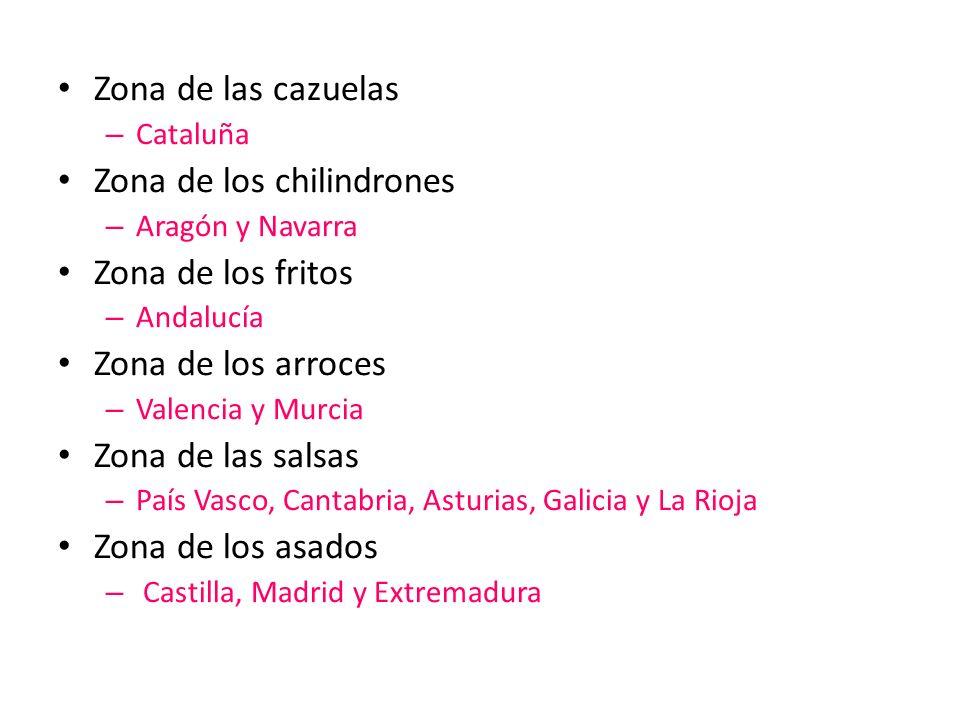Zona de las cazuelas – Cataluña Zona de los chilindrones – Aragón y Navarra Zona de los fritos – Andalucía Zona de los arroces – Valencia y Murcia Zon