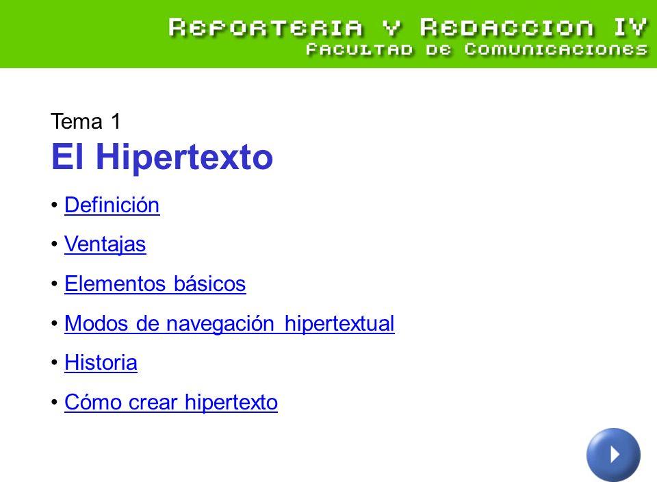 Tema 1 El Hipertexto Definición Ventajas Elementos básicos Modos de navegación hipertextual Historia Cómo crear hipertexto