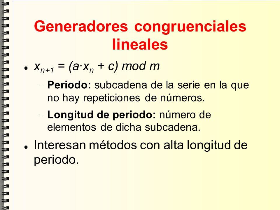 Generadores congruenciales lineales x n+1 = (a·x n + c) mod m Periodo: subcadena de la serie en la que no hay repeticiones de números. Longitud de per