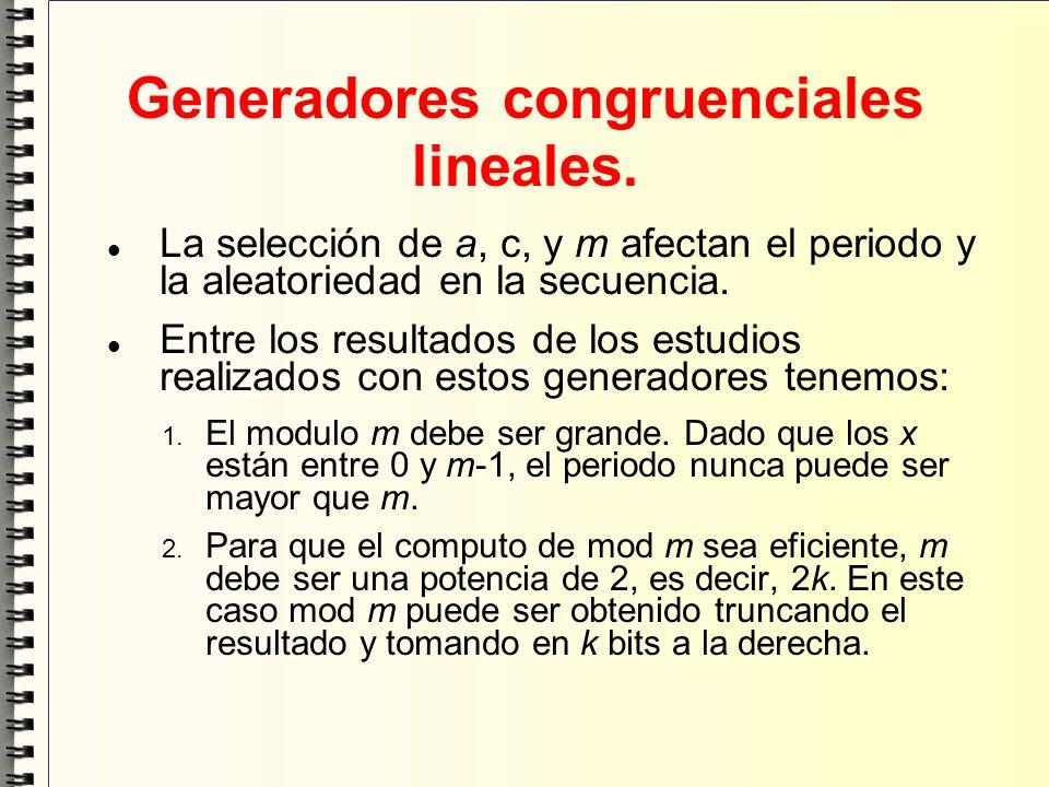 Generadores congruenciales lineales. La selección de a, c, y m afectan el periodo y la aleatoriedad en la secuencia. Entre los resultados de los estud