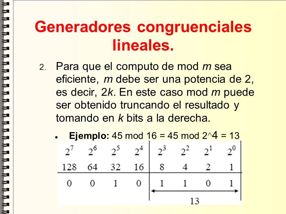 Generadores congruenciales lineales. Para que el computo de mod m sea eficiente, m debe ser una potencia de 2, es decir, 2k. En este caso mod m puede