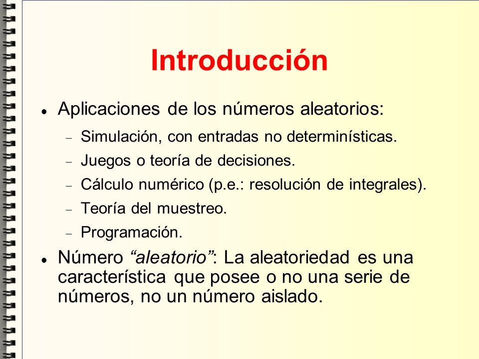 Introducción Aplicaciones de los números aleatorios: Simulación, con entradas no determinísticas. Juegos o teoría de decisiones. Cálculo numérico (p.e