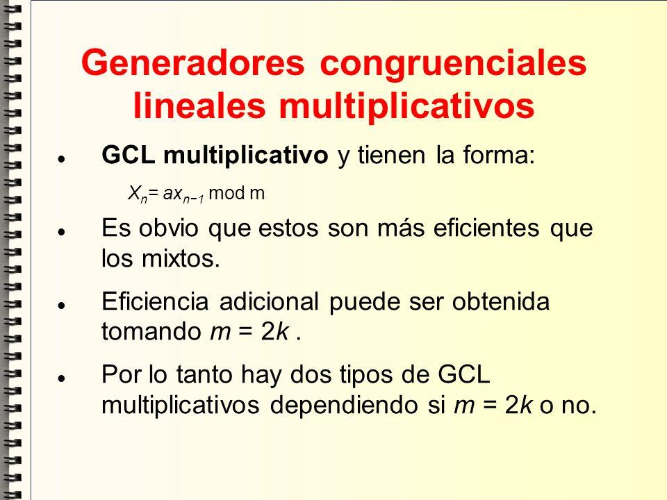 Generadores congruenciales lineales multiplicativos GCL multiplicativo y tienen la forma: X n = ax n1 mod m Es obvio que estos son más eficientes que