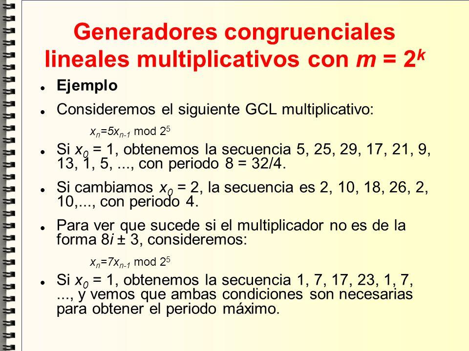 Generadores congruenciales lineales multiplicativos con m = 2 k Ejemplo Consideremos el siguiente GCL multiplicativo: x n =5x n-1 mod 2 5 Si x 0 = 1,