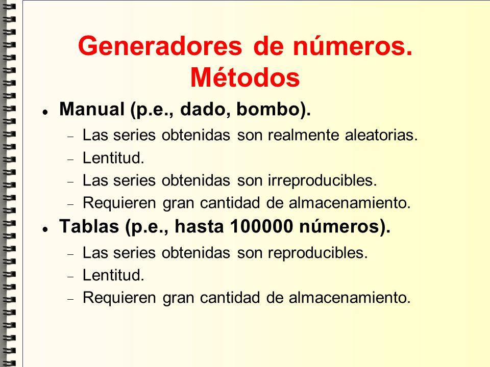 Generadores de números. Métodos Manual (p.e., dado, bombo). Las series obtenidas son realmente aleatorias. Lentitud. Las series obtenidas son irreprod