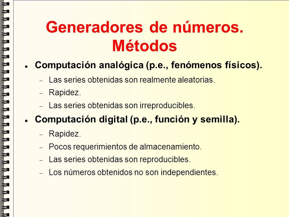 Generadores de números. Métodos Computación analógica (p.e., fenómenos físicos). Las series obtenidas son realmente aleatorias. Rapidez. Las series ob