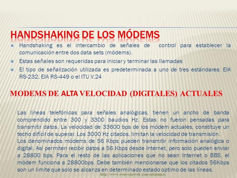 Handshaking es el intercambio de señales de control para establecer la comunicación entre dos data sets (módems). Estas señales son requeridas para in