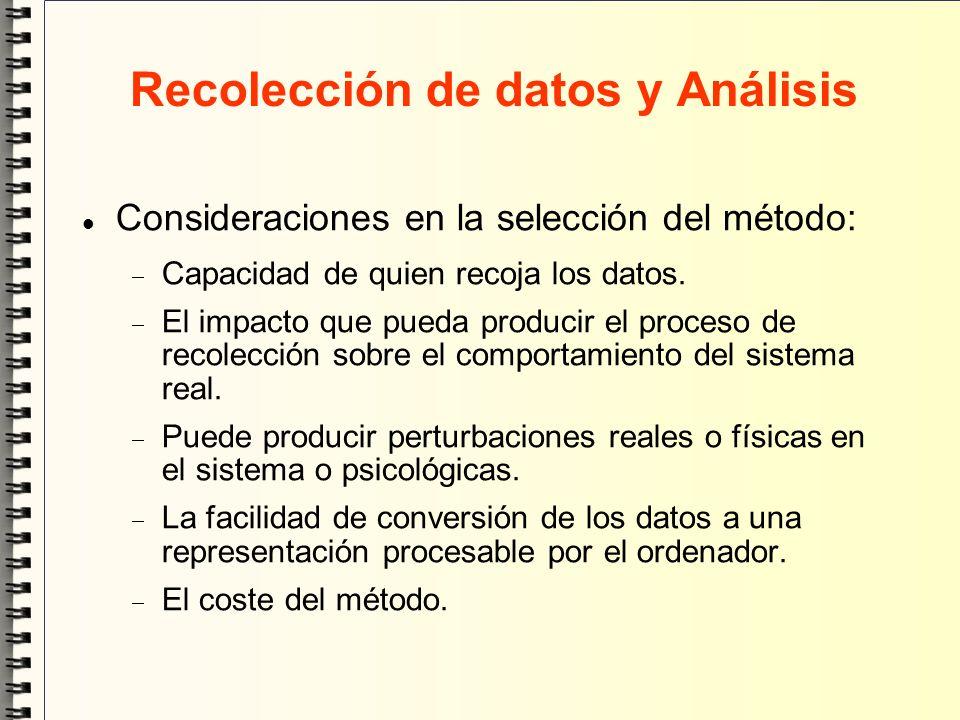 Recolección de datos y Análisis Consideraciones en la selección del método: Capacidad de quien recoja los datos. El impacto que pueda producir el proc