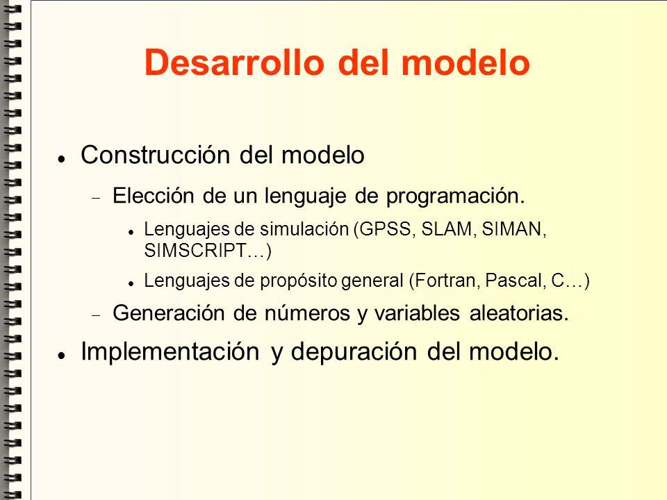 Desarrollo del modelo Construcción del modelo Elección de un lenguaje de programación. Lenguajes de simulación (GPSS, SLAM, SIMAN, SIMSCRIPT…) Lenguaj