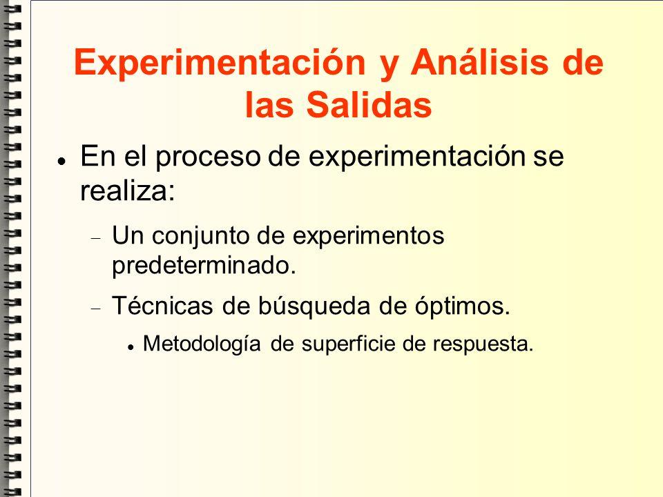 Experimentación y Análisis de las Salidas En el proceso de experimentación se realiza: Un conjunto de experimentos predeterminado. Técnicas de búsqued