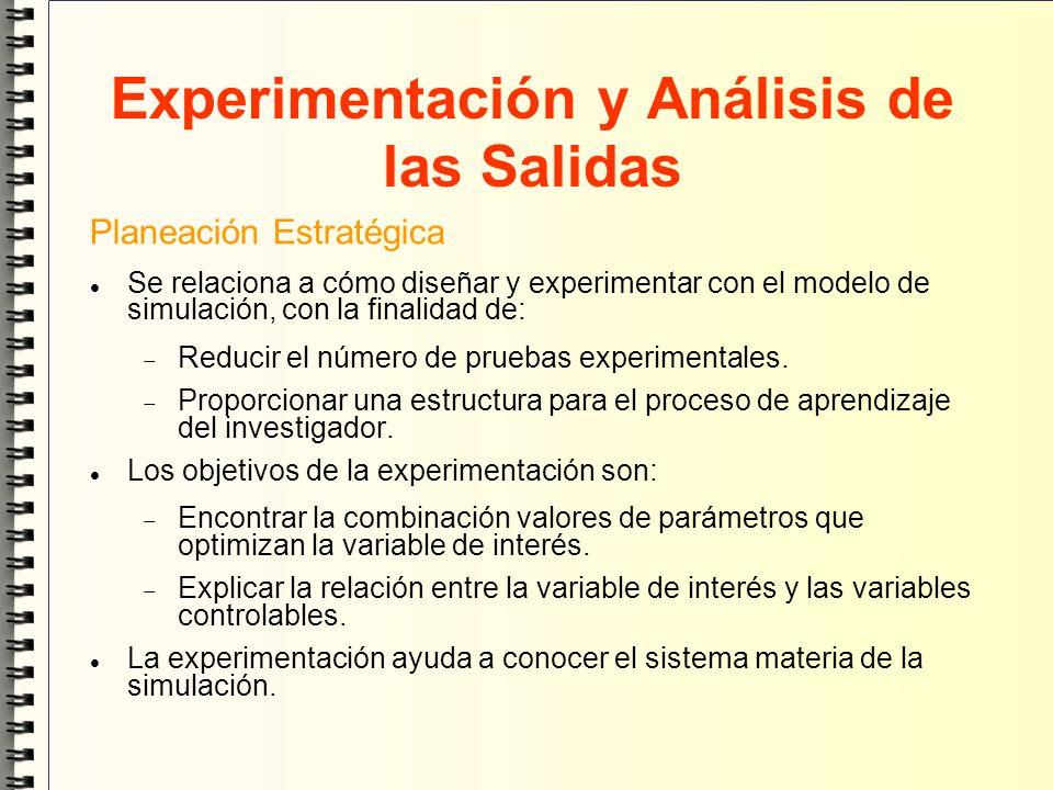 Experimentación y Análisis de las Salidas Planeación Estratégica Se relaciona a cómo diseñar y experimentar con el modelo de simulación, con la finali