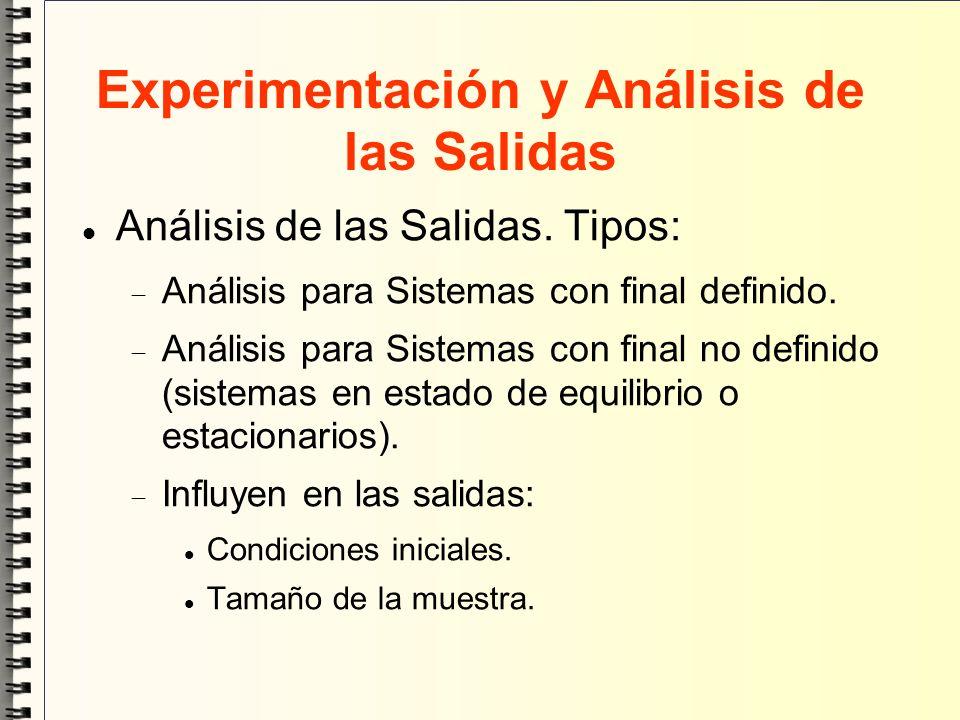 Experimentación y Análisis de las Salidas Análisis de las Salidas. Tipos: Análisis para Sistemas con final definido. Análisis para Sistemas con final