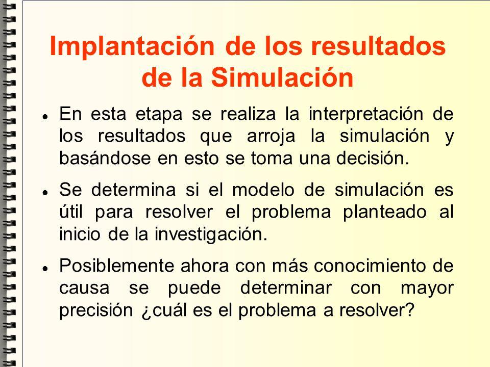 Implantación de los resultados de la Simulación En esta etapa se realiza la interpretación de los resultados que arroja la simulación y basándose en e