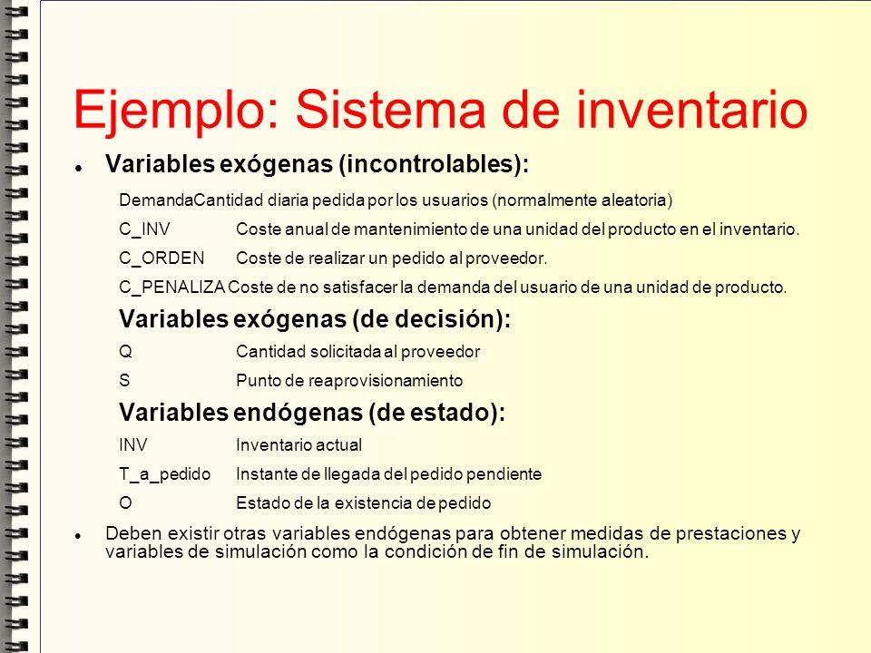 Ejemplo: Sistema de inventario Variables exógenas (incontrolables): DemandaCantidad diaria pedida por los usuarios (normalmente aleatoria) C_INV Coste